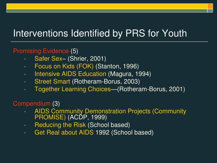 Interventions Identified by PRS for Youth