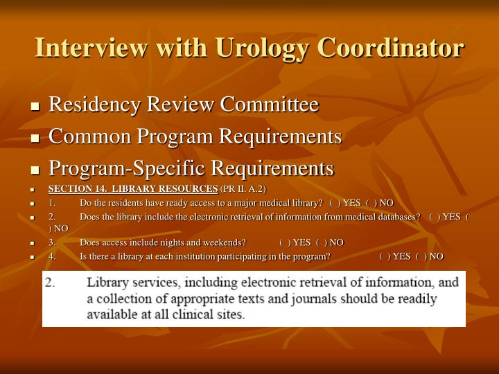 Interview with Urology Coordinator
