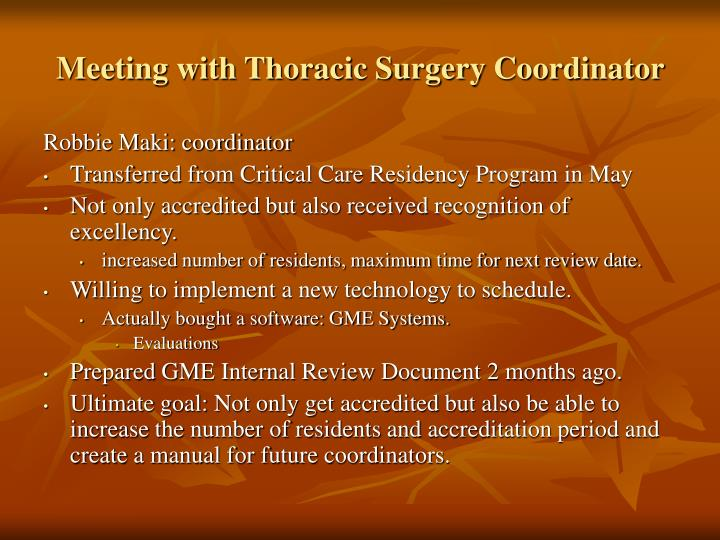 Meeting with thoracic surgery coordinator