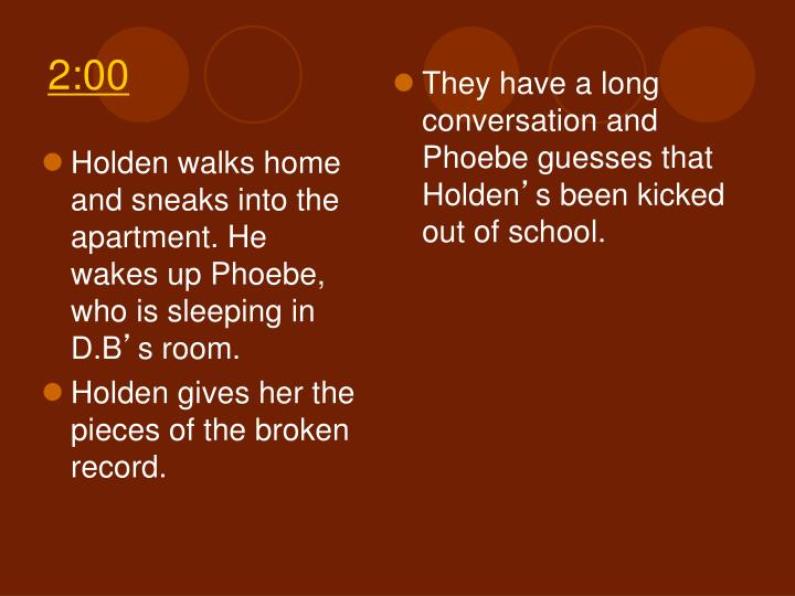 Holden walks home and sneaks into the apartment. He wakes up Phoebe, who is sleeping in D.B