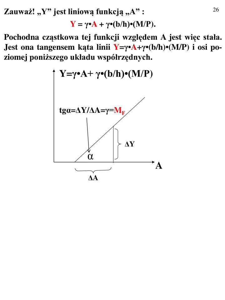 """Zauważ! """"Y"""" jest liniową funkcją """"A"""" :"""