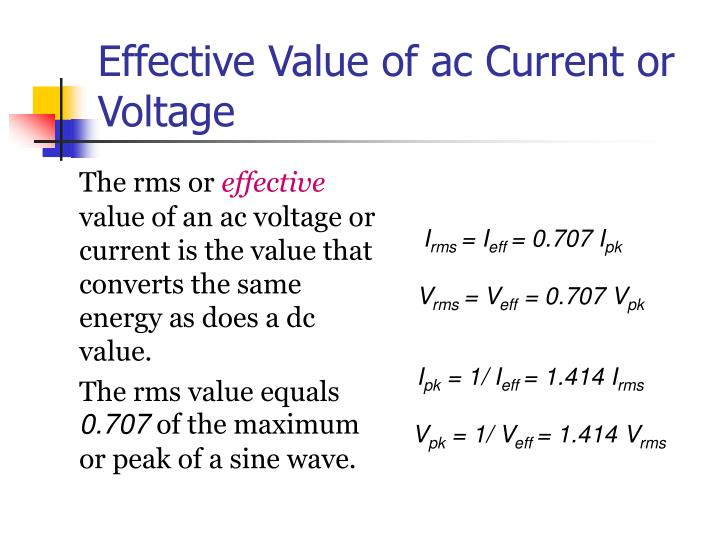 Effective Value of ac Current or Voltage