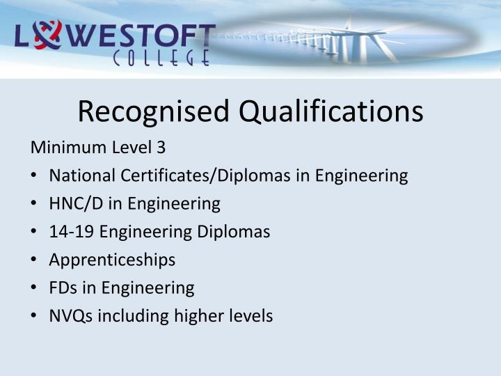 Recognised Qualifications