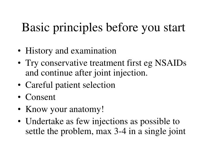 Basic principles before you start