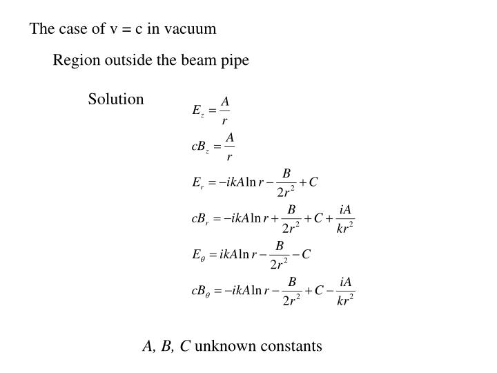 The case of v = c in vacuum