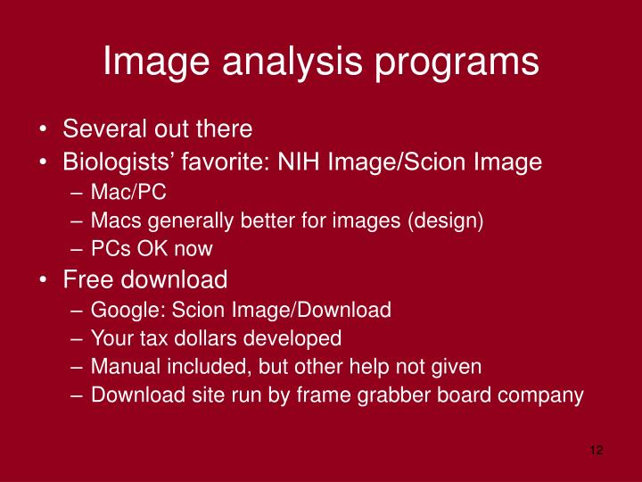 Image analysis programs