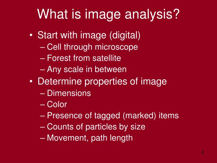 What is image analysis?