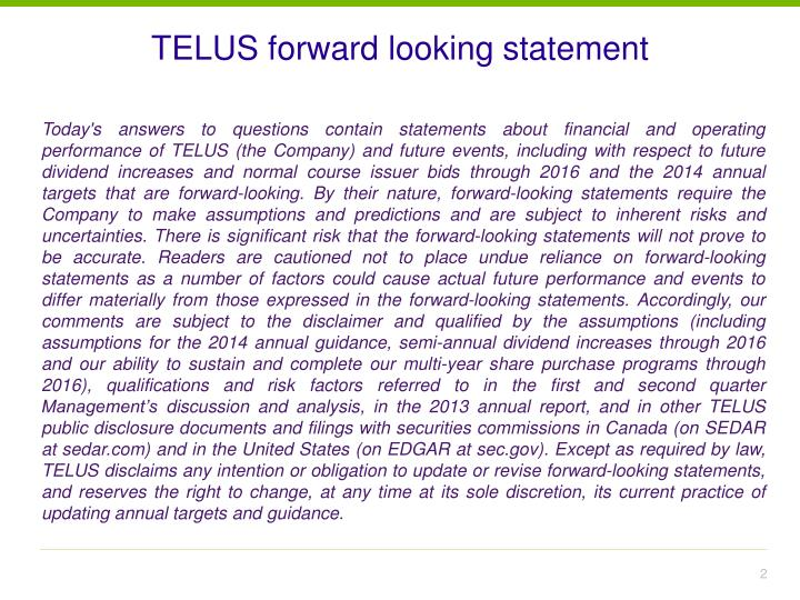 Telus forward looking statement