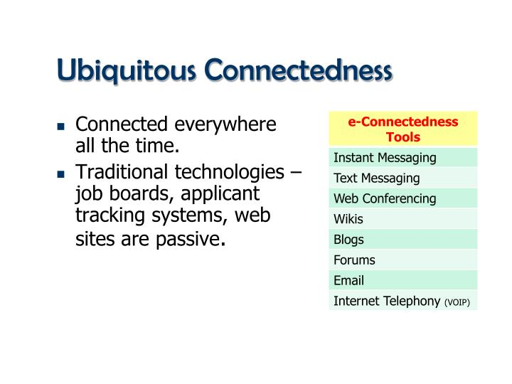 Ubiquitous Connectedness