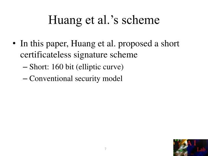 Huang et al.'s scheme