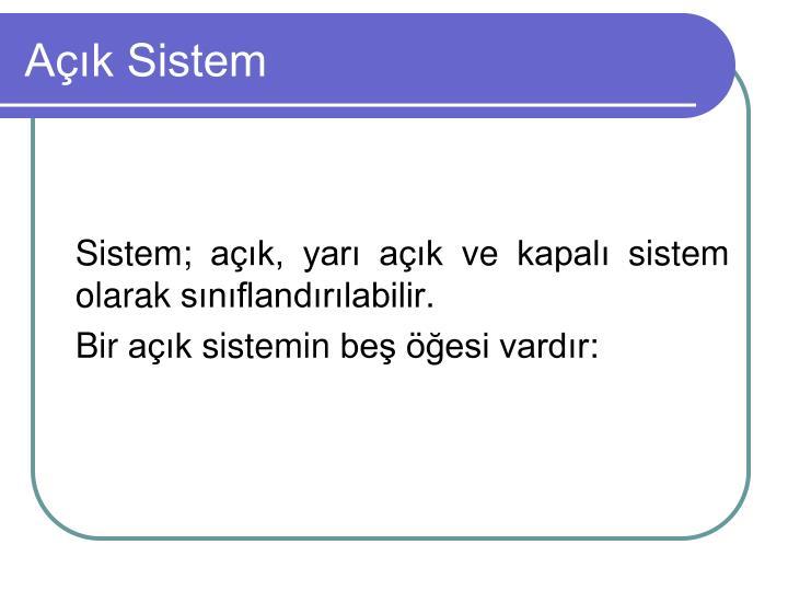 Açık Sistem