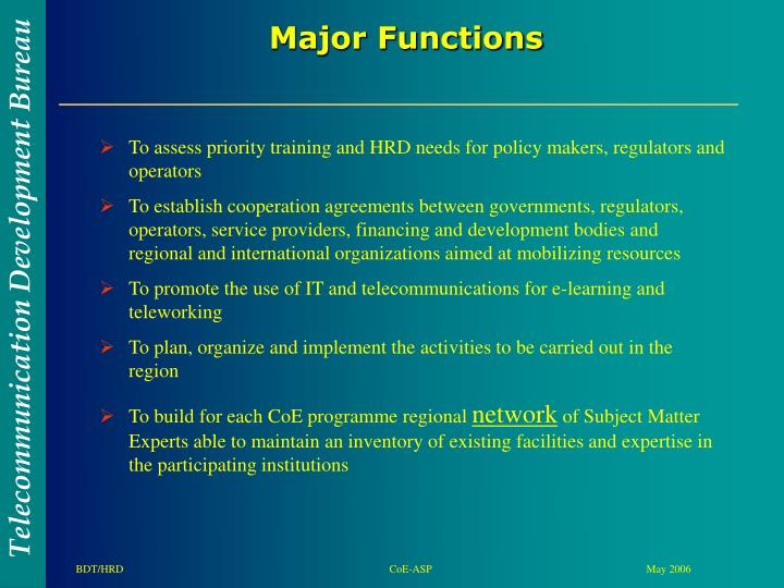 To assess priority training and HRD needs for policy makers, regulators and operators
