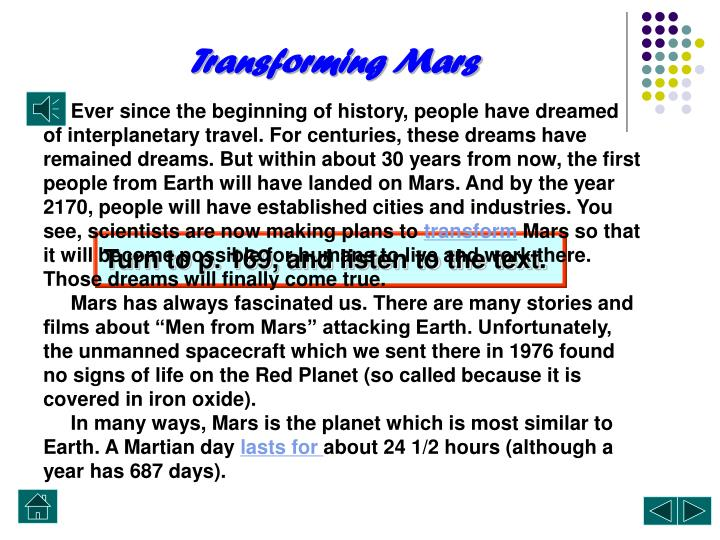 Transforming Mars