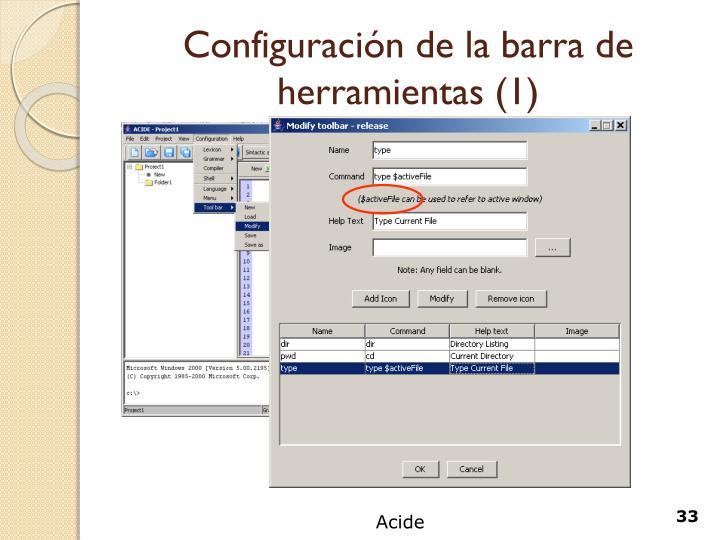 Configuración de la barra de herramientas (1)