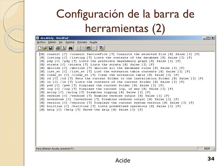 Configuración de la barra de herramientas (2)