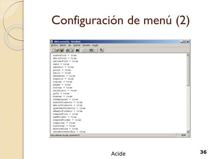 Configuración de menú (2)