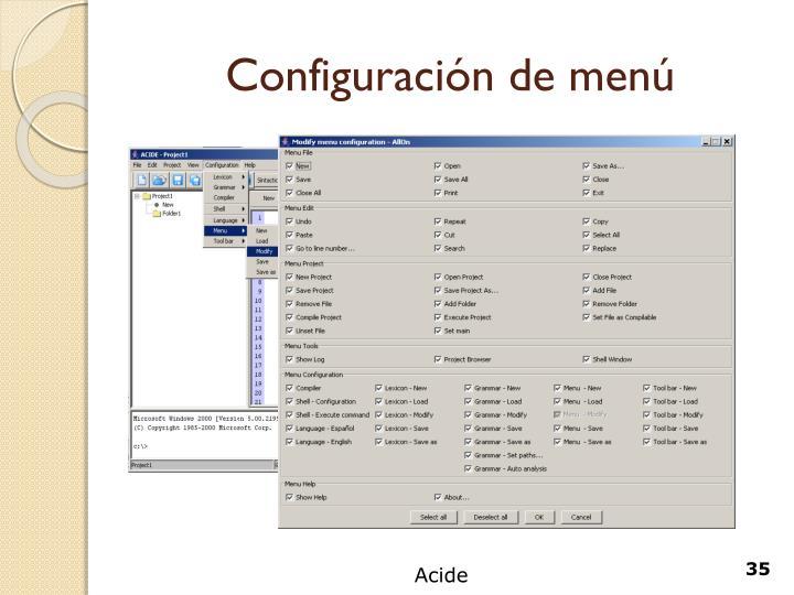 Configuración de menú