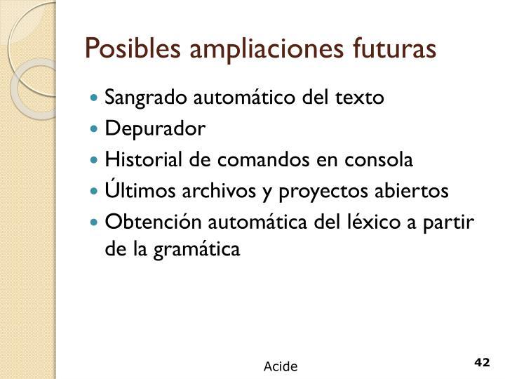 Posibles ampliaciones futuras