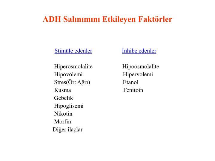 ADH Salınımını Etkileyen Faktörler