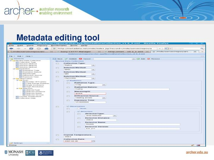 Metadata editing tool