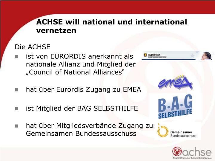 ACHSE will national und international vernetzen