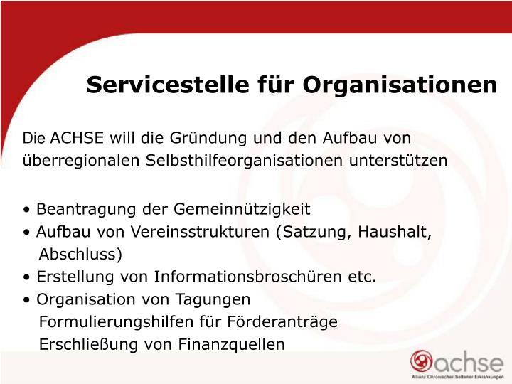 Servicestelle für Organisationen