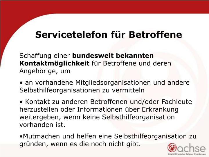 Servicetelefon für Betroffene