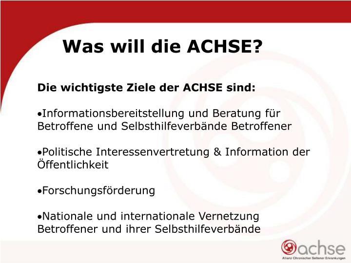 Die wichtigste Ziele der ACHSE sind: