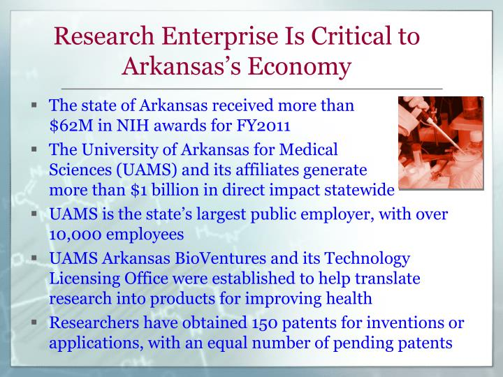 Research Enterprise Is Critical to Arkansas's Economy