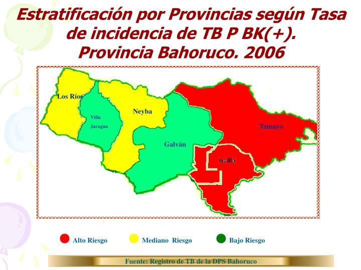 Estratificación por Provincias según Tasa de incidencia de TB P BK(+).