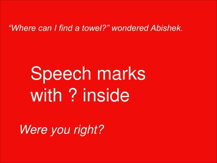 """""""Where can I find a towel?"""" wondered Abishek."""