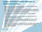 impact of patient family member on quality committee