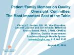 patient family member on quality oversight committee the most important seat at the table