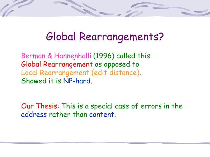 Global Rearrangements?