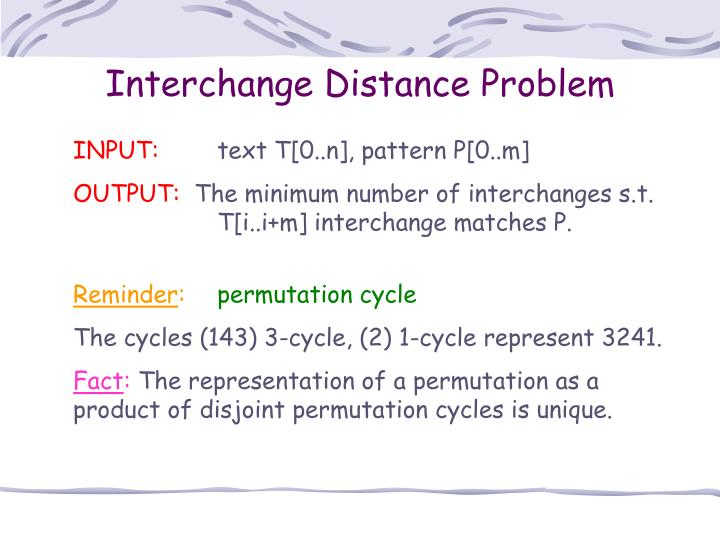 Interchange Distance Problem