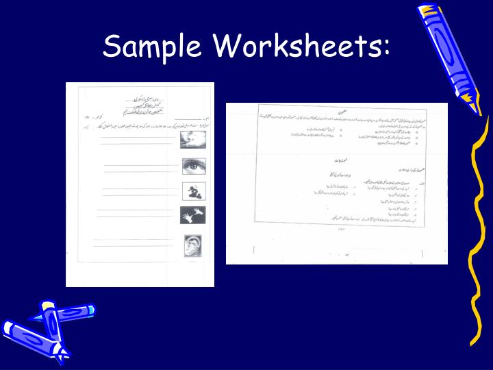 Sample Worksheets: