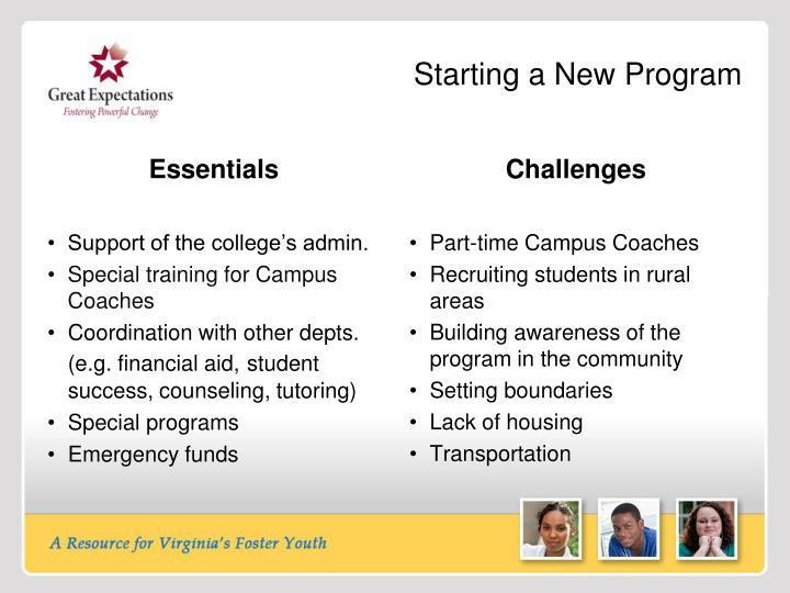 Starting a New Program