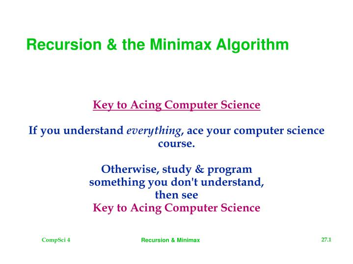 Recursion the minimax algorithm