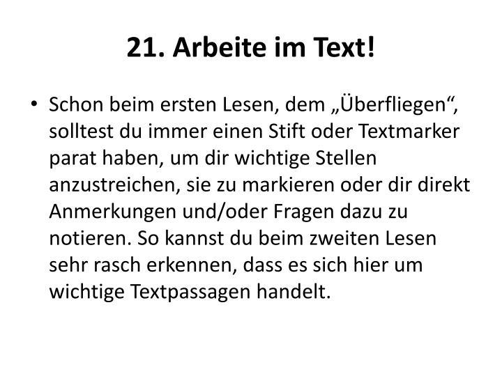 21. Arbeite im Text!