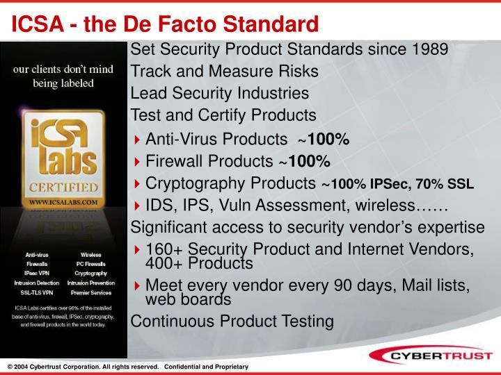 ICSA - the De Facto Standard