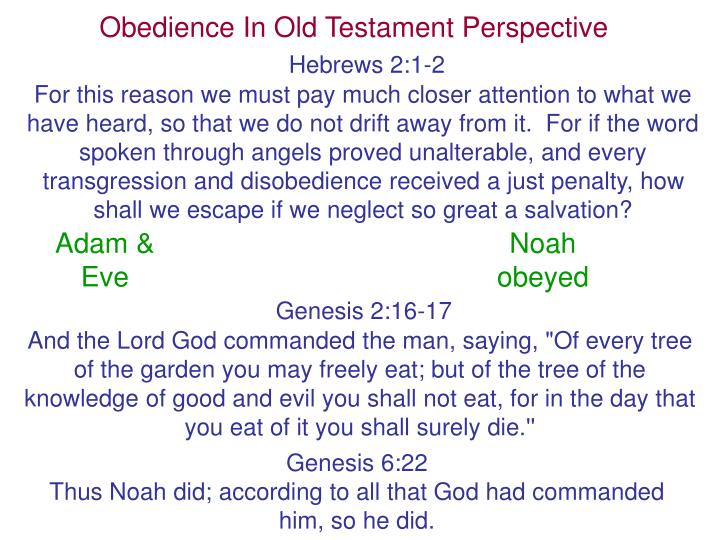 Obedience In Old Testament Perspective