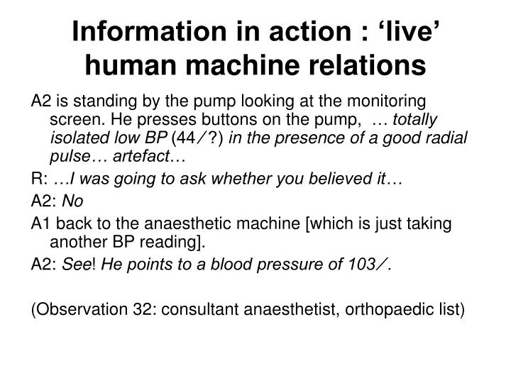 Information in action : 'live' human machine relations
