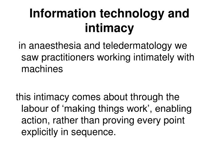 Information technology and intimacy