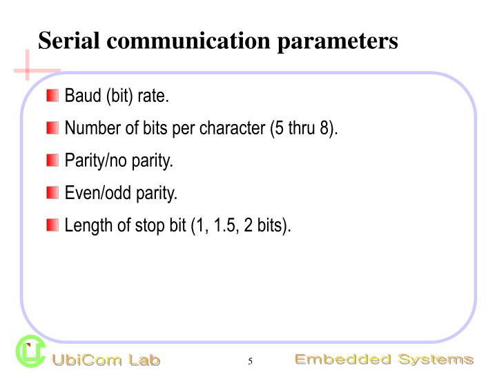 Serial communication parameters