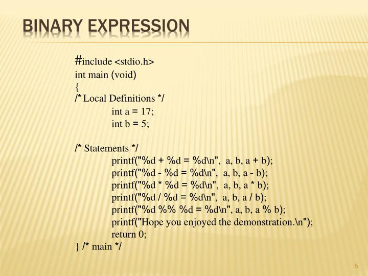 Binary Expression