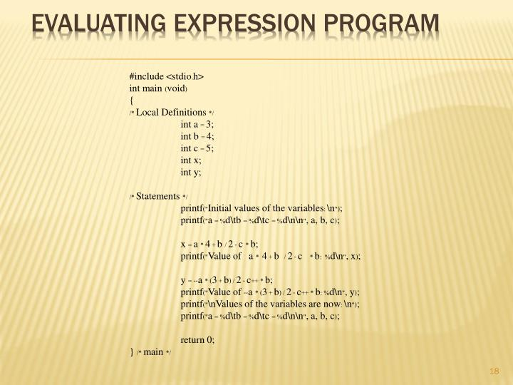 Evaluating expression program