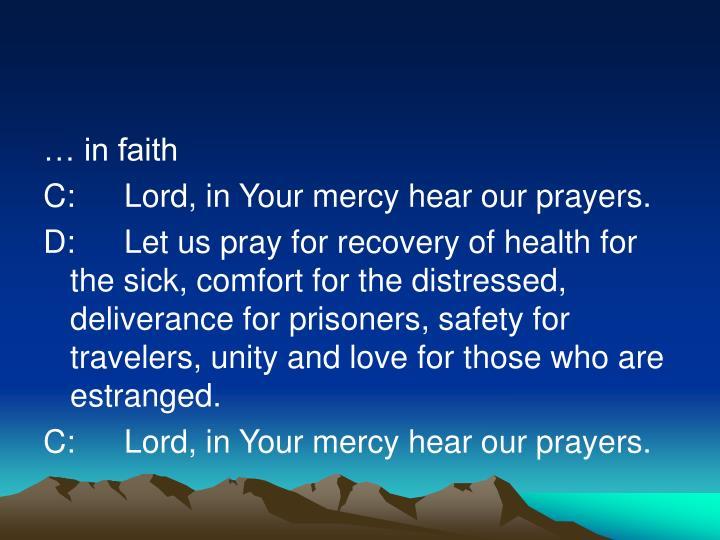 … in faith