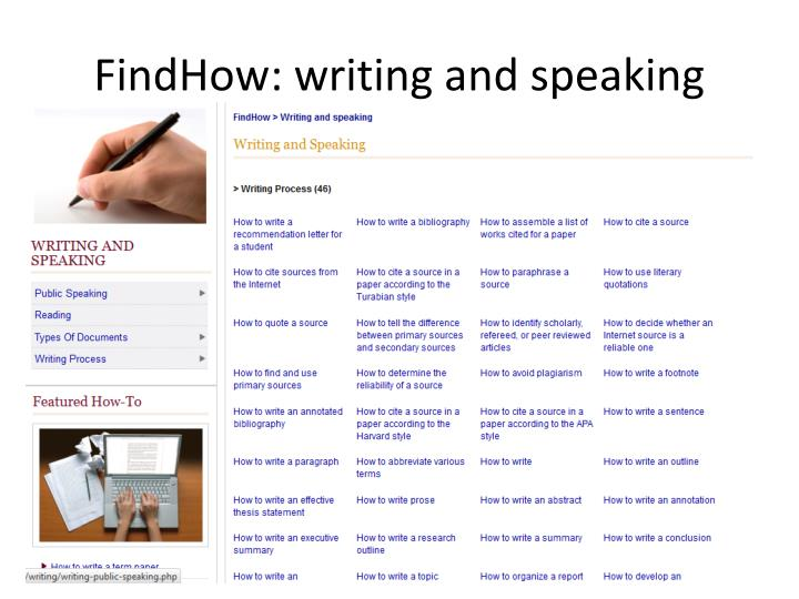 FindHow: writing and speaking