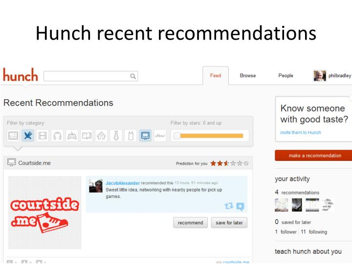 Hunch recent recommendations