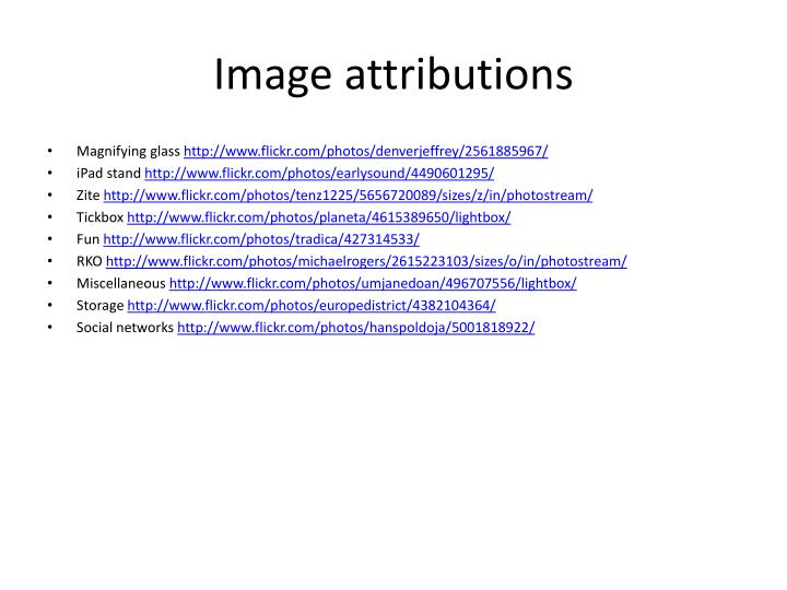 Image attributions